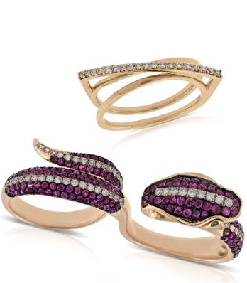 Rose gold diamond overpass ring and double finger gemstone diamond snake ring